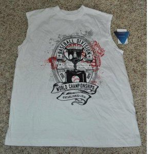 Boys Champion White Baseball Tank Top Shirt- 12/14